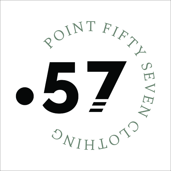 Circular greyscale logo for Point Fifty Seven