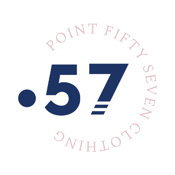 Circular pastel logo for Point Fifty Seven
