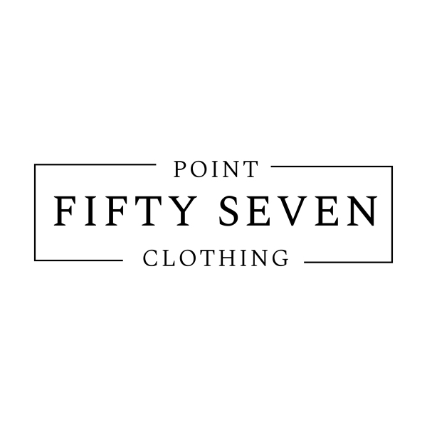 Rectangular greyscale logo for Point Fifty Seven