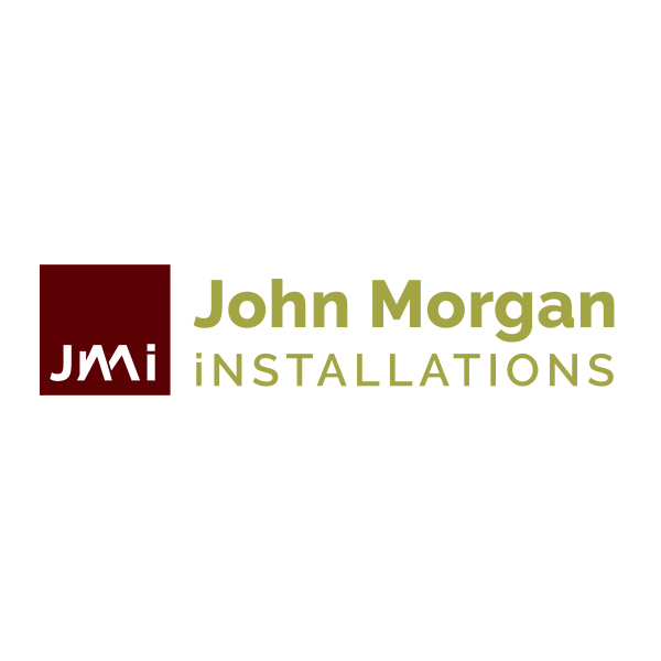 Rectangular burgundy and gold logo for JMi Home Installations